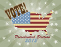 Vote Presidential Election 2012 USA Map Royalty Free Stock Photos