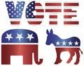 Vote Republican Elephant and Democrat Donkey Royalty Free Stock Photo