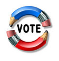 Vote symbol with curved pencils Stock Image