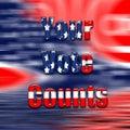Vote text on USA flag.
