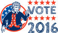 Vote 2016 Uncle Sam Pointing Circle Retro Royalty Free Stock Photo