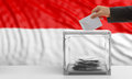 Voter on an Indonesia flag background. 3d illustration