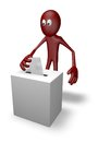 Voting cartoon guy and vote box d illustration Stock Image