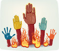 Voting fire hands Stock Photo