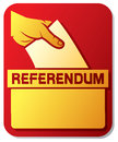 Voting in the referendum illustration of a ballot box hand putting a ballot a slot of box mans hand down ballot ballot box hand Stock Image