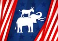 Voting 2020 in the United States. Symbols of the democratic and Republican party elephant and donkey on the background of US flag Royalty Free Stock Photo