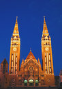 Votive Church at night 08, Szeged, Hungary Stock Image