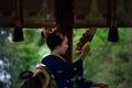 Votive dance by Maiko girl at shrine. Kyoto Japan Royalty Free Stock Photo