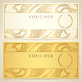 Voucher gift certificate coupon template with floral scroll swirl pattern border frame background design for invitation ticket Stock Photography