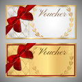 Voucher, Gift certificate, Coupon template with red bow ribbon Royalty Free Stock Photo
