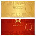 Voucher gift certificate coupon ticket pattern template floral scroll bow frame red background design for invitation banknote Royalty Free Stock Image