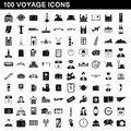100 voyage icons set, simple style