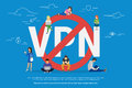VPN prohibition concept vector illustration