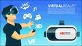 VR glasses 3d virtual reality icons