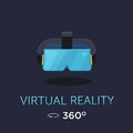 VR headset icon. Virtual reality glass. Vector poster. Flat style design
