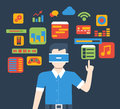 VR virtual reality glass interface usage flat isometric vector Royalty Free Stock Photo