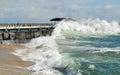 Vreedzame oceaangolven san pedro fishing pier Royalty-vrije Stock Afbeelding