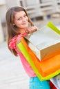Vriendelijke dame with shopping bags Royalty-vrije Stock Foto