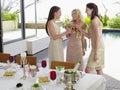 Vrouwelijke vrienden die champagne flutes at dinner party roosteren Royalty-vrije Stock Afbeeldingen