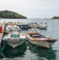 Yachts, Adriatic Sea and Vrsar - beautiful antique city. Coastal town of Vrsar, Istria, Croatia. Royalty Free Stock Photo