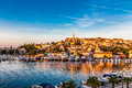 Vrsar Port And Village During Sunset-Croatia Royalty Free Stock Photo