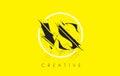 VS Letter Logo with Vintage Grundge Drawing Design. Destroyed Cu