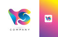 VS Logo Letter With Rainbow Vibrant Beautiful Colors. Colorful T