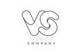 VS Monogram Letter Logo With Thin Black Monogram Outline Contour
