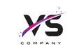 VS V S Black Letter Logo Design with Purple Magenta Swoosh