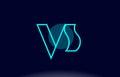 vs v s blue line circle alphabet letter logo icon template vecto