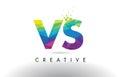 VS V S Colorful Letter Origami Triangles Design Vector.
