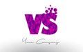 VS V S Dots Letter Logo with Purple Bubbles Texture.