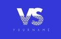 VS V S Dotted Letter Logo Design with Blue Background.