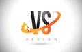 VS V S Letter Logo with Fire Flames Design and Orange Swoosh.