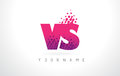 VS V S Letter Logo with Pink Purple Color and Particles Dots Des