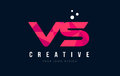VS V S Letter Logo with Purple Low Poly Pink Triangles Concept