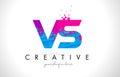 VS V S Letter Logo with Shattered Broken Blue Pink Texture Desig