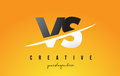 VS V S Letter Modern Logo Design with Yellow Background and Swoo