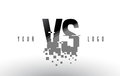 VS V S Pixel Letter Logo with Digital Shattered Black Squares
