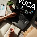 VUCA world concept on screen. Volatility, uncertainty, complexity, ambiguity. Royalty Free Stock Photo