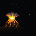 Vulcano erupting and night sky in background volcano illustration Stock Photo