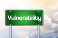 Vulnerability just ahead green road sign business concept Stock Photography