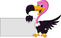 Vulture cartoon with blank sign vector illustration of cute Stock Images