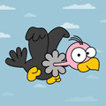 Vulture cartoon illustration of amusing flying illustration all in a single layer Stock Image
