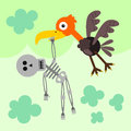 Vulture after a meal cartoon illustration of flying carrying human skeleton Royalty Free Stock Photo