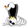 Vultureand skull. Carrion Bird and skeleton. Gnawed corpse. Royalty Free Stock Photo