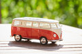 VW figurine bus as a symbol for holiday Royalty Free Stock Photo