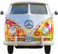 VW Hippie Bus Van Isolated