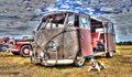 Vw kombi van an old with dog on display at car show Stock Images