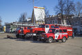 Vyazniki russia march fire truck cost stand on cathedral area in city vyazniki russia calculation of the of the red colour Stock Image